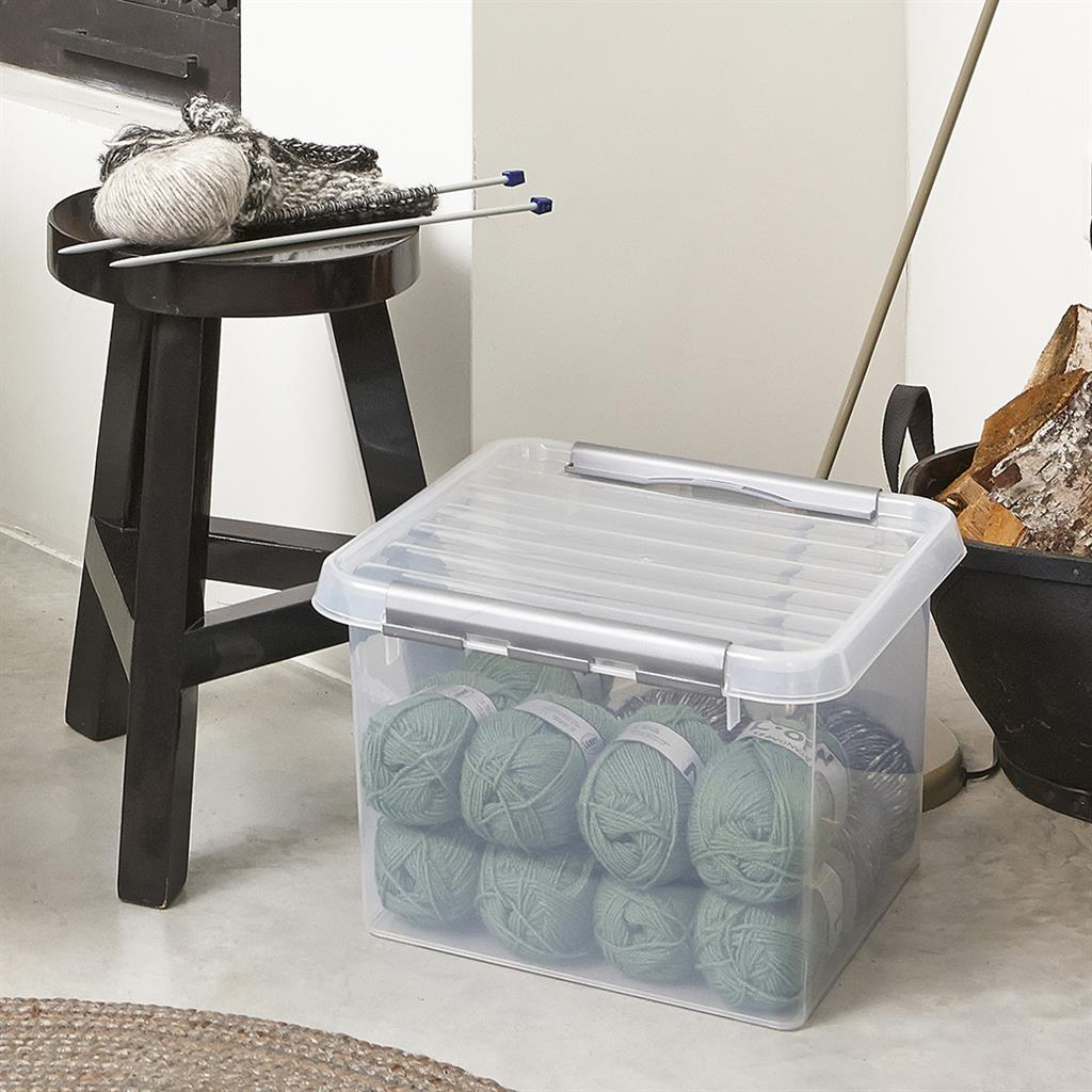 Q-line storage box 26L transparent metallic
