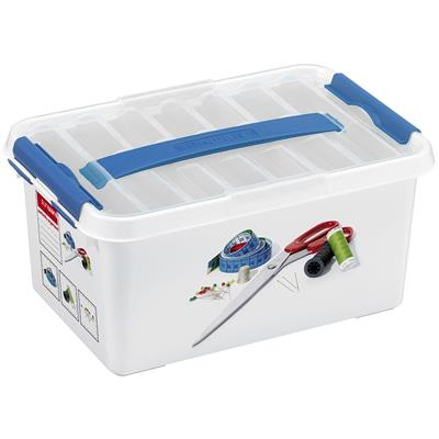 Q-line Sewing box with tray 6L white blue