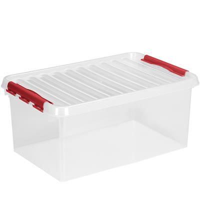 Q-line storage box 45L transparent red