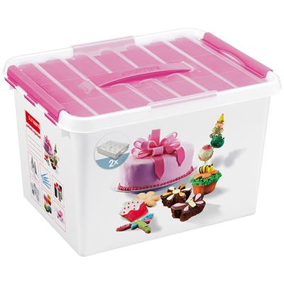 Q-line Fun-baking opbergbox 22L wit roze